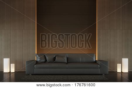 Modern brown living room interior minimal style 3d rendering image. There are minimalist style decorate room with wood and hidden warm light