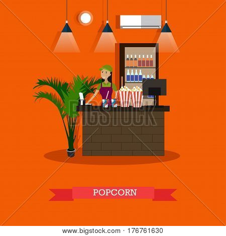 Vector illustration of cinema waiting hall and cafe with salesgirl. Popcorn concept design element in flat style.