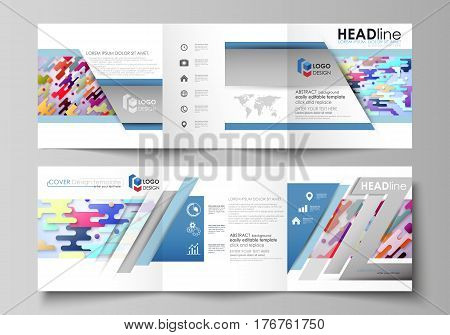 Set of business templates for tri fold square design brochures. Leaflet cover, abstract flat layout, easy editable vector. Bright color lines and dots, colorful minimalist backdrop with geometric shapes forming beautiful minimalistic background.