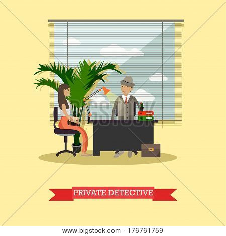 Vector illustration of detective working at office with his client young lady. Detective agency interior. Private detective flat style design element.