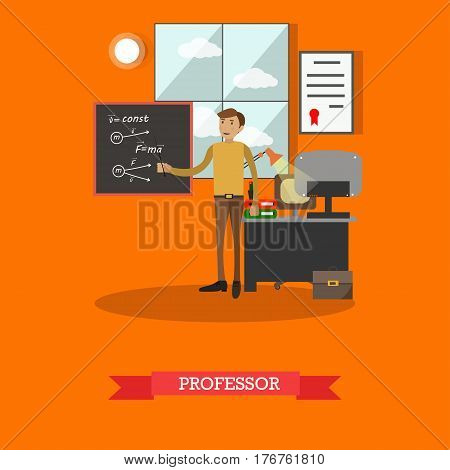 Vector illustration of professor of physics at lesson. Young scientist male pointing at written formulas on the blackboard. Flat style design element.