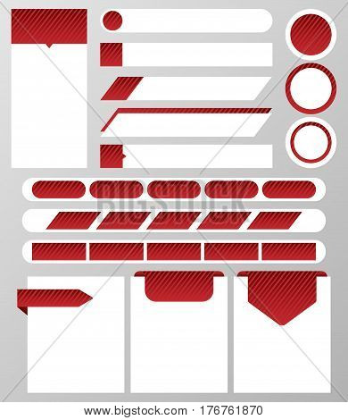Collection of website elements‏: text box, button, banner, text bar, navigation bar, label. Red and white elements for web design. Vector illustration