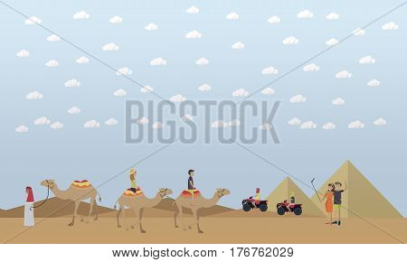 Vector illustration of egyptian pyramids and tourists young people taking selfie with mobile and selfie stick monopod, riding camels and quad bikes. Trip to Egypt concept flat style design element.