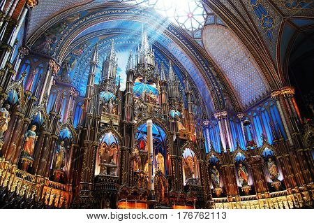 MONTREAL - MAY 3, 2009: Altar of Montreal Notre-Dame Basilica (French: Basilique Notre-Dame de Montreal), Montreal, Quebec, Canada.