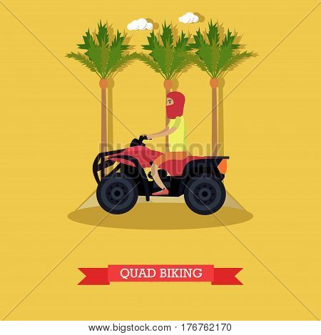 Vector illustration of young man riding quad bike. Trip to Egypt concept flat style design element.