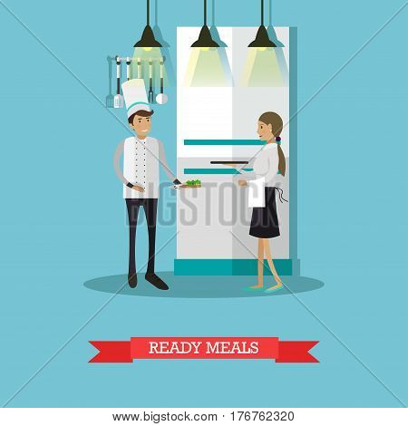 Vector illustration of waitress getting ready meals from kitchen to serve it to clients. Restaurant team. Flat style design.