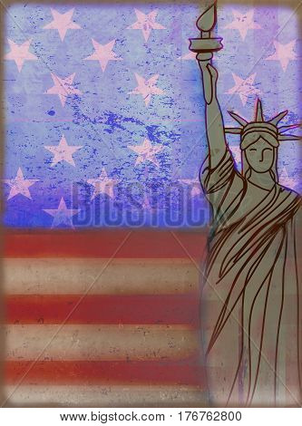 Grunge illustration of the american flag , raster
