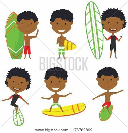 Surfing African-American male characters vector set. Handsome boys with surface board. Summer beach man activities. Cute young surfers isolated on white background.