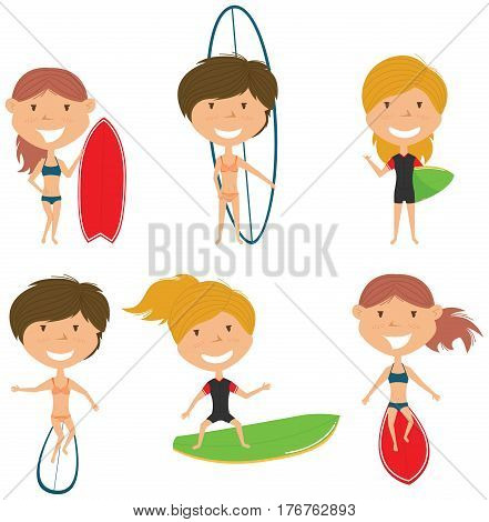 Surfing female characters vector set. Beautiful girls with surface board. Summer beach woman activities. Cute young surfers isolated on white background.