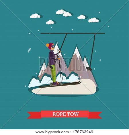 Vector illustration of young man going up on ski tow. Downhill skiing, ski resort. Rope tow concept design element in flat style.