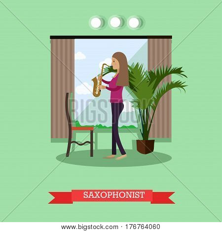 Vector illustration of musician female playing saxophone wind musical instrument. Saxophonist flat style design element.