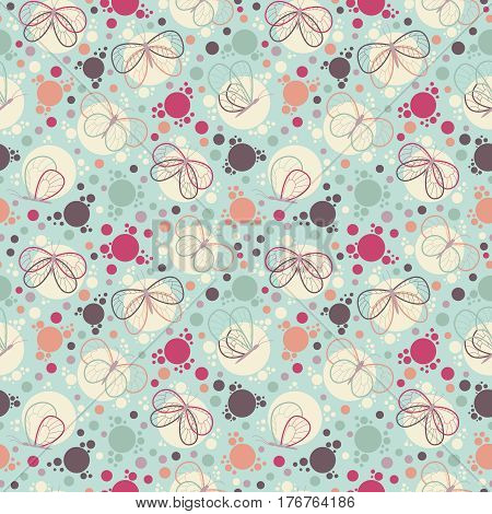 Bright colorful butterflies vector seamless pattern. Nature decorative background with cartoon insects. Beautiful abstract natural wallpaper
