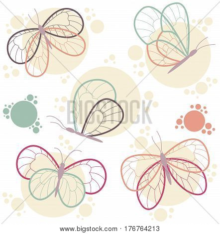 Bright colorful butterflies vector icon set. Beauty decorative flying insects isolated on white background