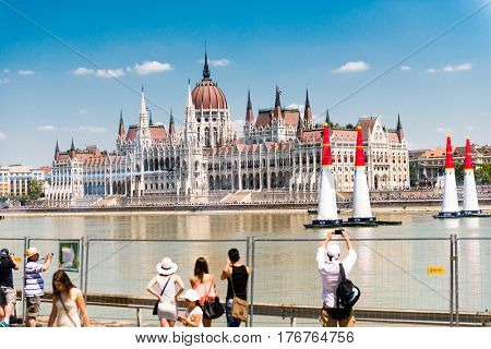 BUDAPESHT, HUNGARY- JULY 05: the parliament building in budapest, hungary, taking shots of ancient architecture on july 05, 2015 in Hungary