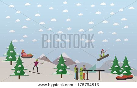 Vector illustration of downhill ski track for snowboarding, skiing and tubing. Alpine ski slope. Snowcapped mountain flat style design element.