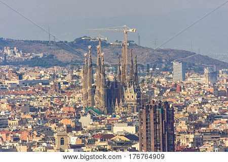 BARCELONA, SPAIN, September 19: Top view of Sagrada familia and Barcelona city Spain in 2008