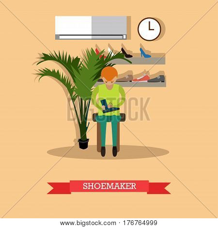 Vector illustration of worker young man repairing or making boot, workshop interior. Shoemaker in shoe repair shop flat style design element.