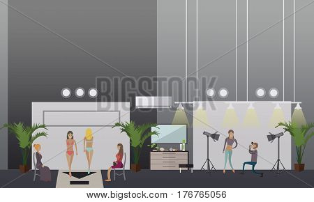 Vector illustration of fashion models demonstrating swimwear. Show swimsuits and photosession concept design elements in flat style