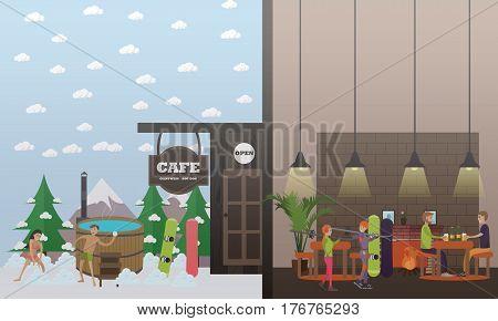 Ski resort vector illustration. Mountain cafe, wooden barrel vat. Winter fun concept flat style design element.