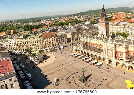 POLAND, KRAKOW- JULY 03: Breathtaking square old monument, caffee and small catholic church, topview in Krakow Poland on July 03, 2015
