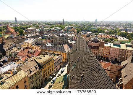 POLAND, KRAKOW- JULY 03: Overlooking the facades streets and european architecture, aerial in Krakow Poland on July 03, 2015