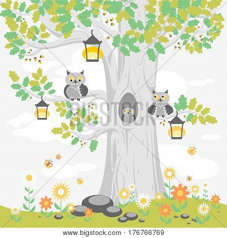 A family of owls on a tree in summer, cute cartoon characters. Illustration for posters, banners, cards, and other design projects for children