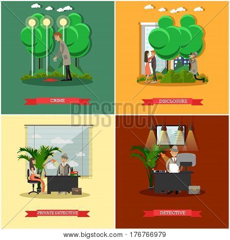 Vector set of detective posters. Crime, Disclosure, Private detective and Detective flat style design elements.