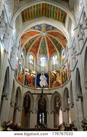 MADRID, SPAIN - 7 January 2009: Image of Altar in Madrid's Cathedral of Almudena Spain