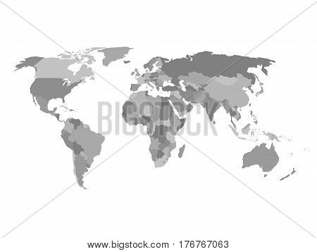 Political map of the world in shades of grey. Simlified flat geographical background wallpaper. EPS10 vector illustration.