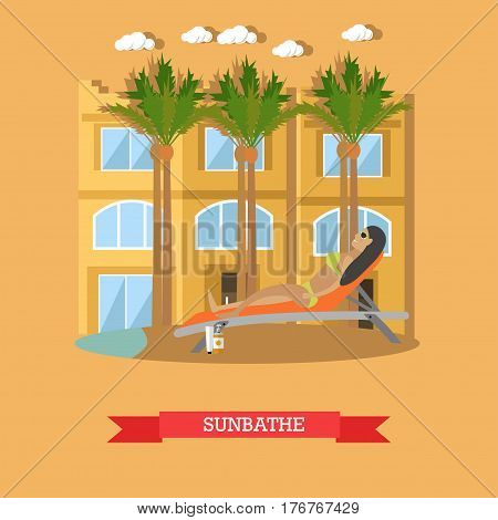 Vector illustration of woman sunbathing at resort swimming pool. Trip to Egypt concept flat style design element.