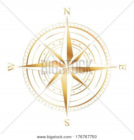 Gold wind rose compass isolated on white. Gold glitter sparkle. Compass Icon Graphic. Nautical design elements. Compass Rose. Wind rose. Vector Illustration.