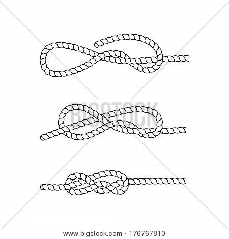 How to tie a sea knot. Example. Nautical rope knots. Marine rope. Vector illustration.