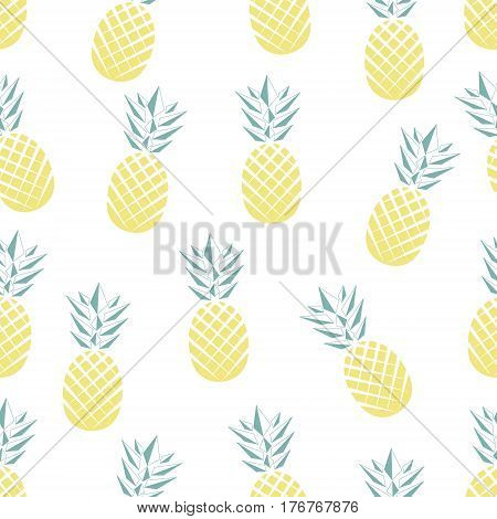 Seamless illustration of exotic tropical fruit - pineapple. Seamless pattern in vector. Summer fruit illustration. Flat pineapple pattern.