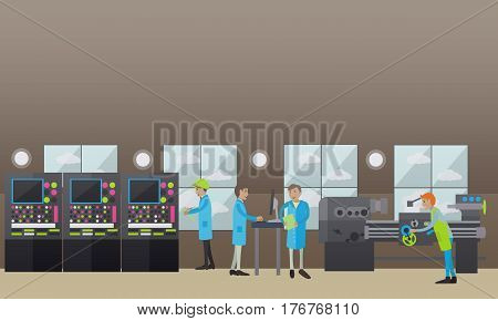 Vector illustration of factory turner using turning machine to make metal parts. Engineer and other factory workers controlling production flat style design elements.