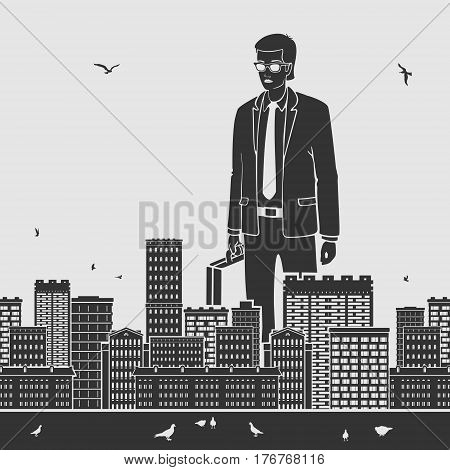 Big Businessman in the City Vector Illustration eps 8 file format