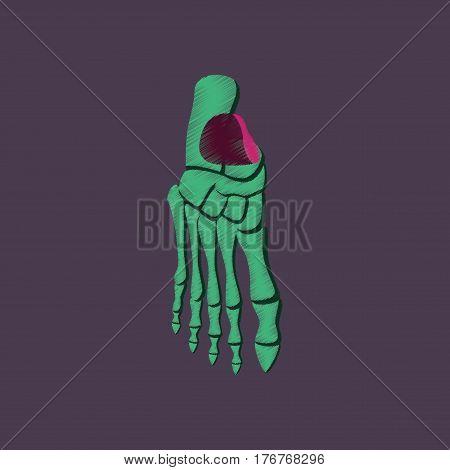flat shading style icon human foot skeleton