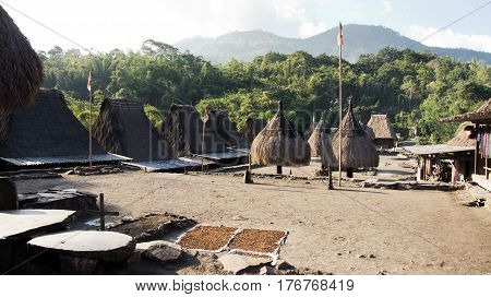 Bena a traditional village with grass huts of the Ngada people in Flores near Bajawa Indonesia.