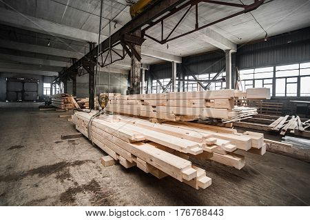Stack Wood Beams In The Factory