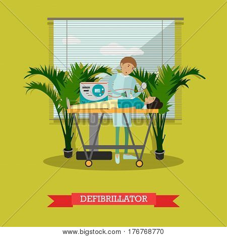 Vector illustration of healthcare professional saving patient life using defibrillator. Flat style design element.