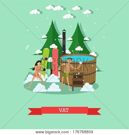 Vector illustration of wooden barrel vat with hot water, young couple snowboarders in swimsuits playing snowballs. Outdoors winter fun design element in flat style.