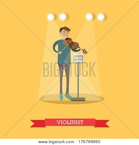 Vector illustration of musician young man playing violin. Violinist performing classical music flat style design element.
