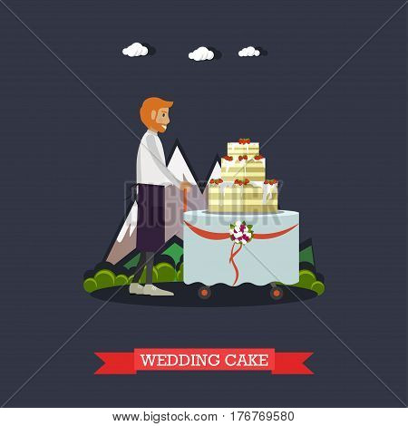 Vector illustration of man waiter and big cake with three tiers. Outdoors wedding party catering. Wedding cake concept design element in flat style.