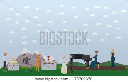 Wedding celebration vector illustration. Bride and groom, guests dancing to music, musician and singer, wedding cake flat style design elements.