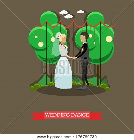 Vector illustration of newly married couple dancing. Wedding dance flat style design element.