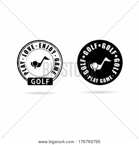 Golf Icon With Grunge Rubber Set Illustration