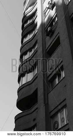 Block Flats Apartment Building Black White