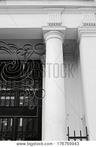 Roman Column Iron Gate Black White