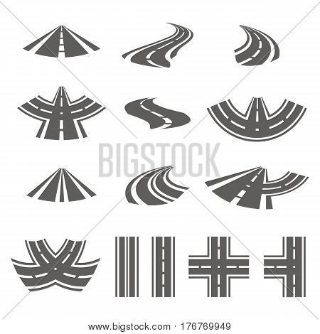 Curving Road Vector Set. Asphalt Roads Or Way And Curve Roads