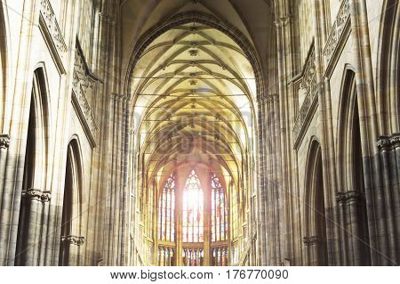 a catholic church interior catholic church horisontal religion concept St. Vito Cathedral in Prague