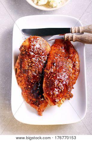 Chicken fillet in mustard and honey glaze